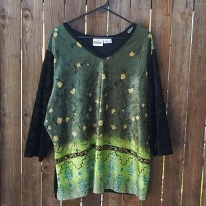 2/$14 Bentley Plus Velvet Top Black & Green 3X